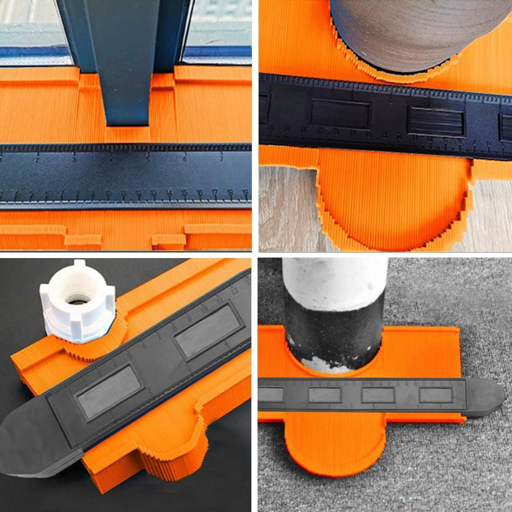 Largeur de 5,1 Pouces GAYISIC Jauge de Contour avec Double Verrouillage Jauges de Profil 10 Pouces Jauge de Duplication de Contour en Plastique des Formes Irr/éguli/ères Mesurant