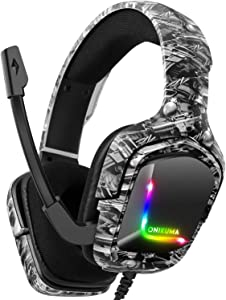 Gaming Headset for PS4, Xbox One Headphones with Noise Cancelling Mic with Mute & Volume Control, Lightweight Ergonomic Cool RGB Headphones