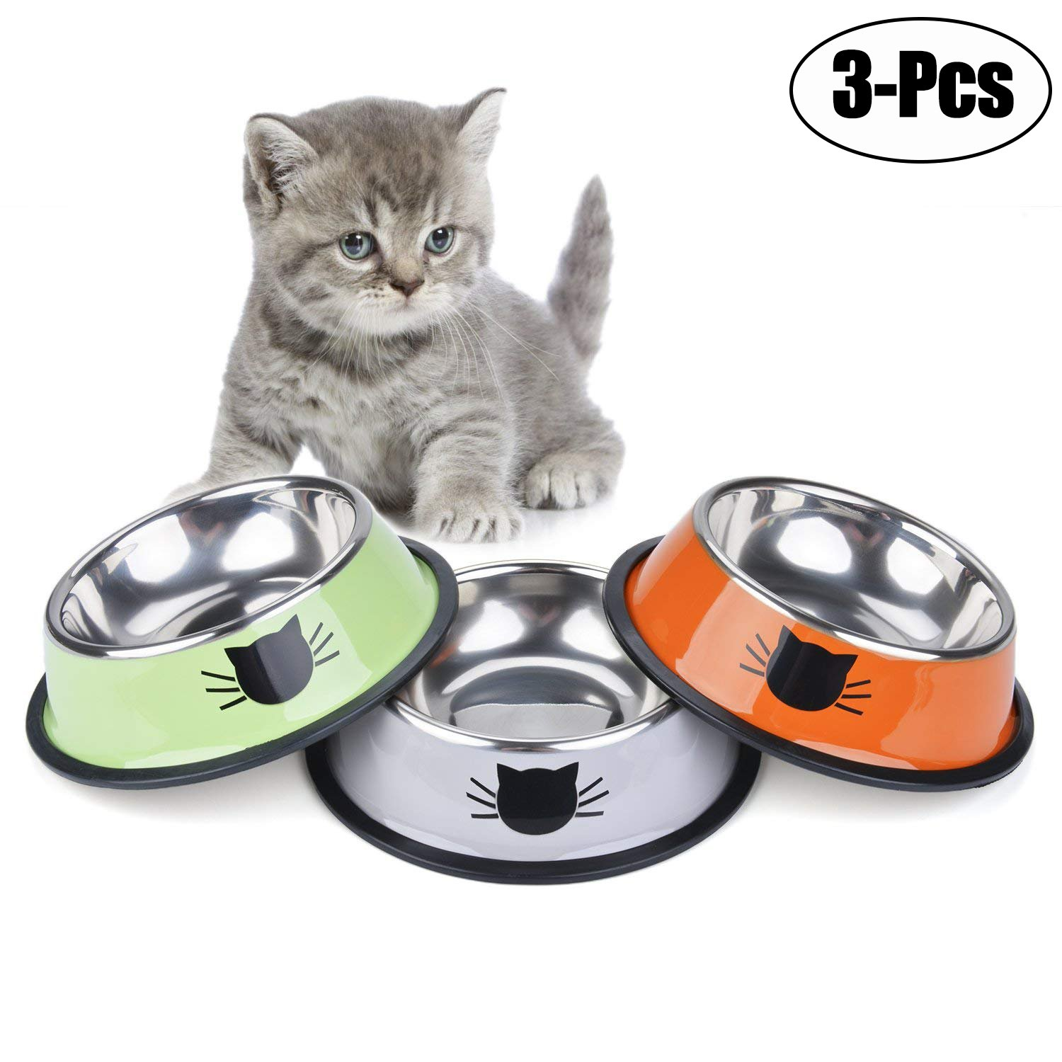 Legendog Cat Bowl Pet Bowl Stainless Steel Cat Food Water Bowl Non-Slip Rubber Base Small Pet Bowl Cat Feeding Bowls Set of 3 (Multicolor)