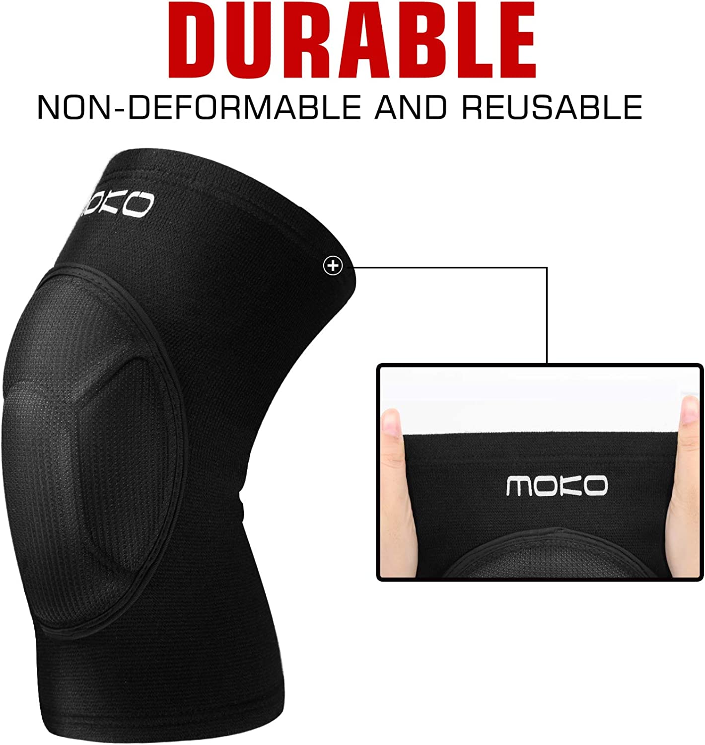 MoKo Knee Brace Support, Protective Volleyball Knee Pads, Professional Thick Sponge Compression Knee Sleeves for Dance Arthritis Joint Pain Relief Injury Recovery, Fit Men Women Youth, 1 Pair, Black : Clothing