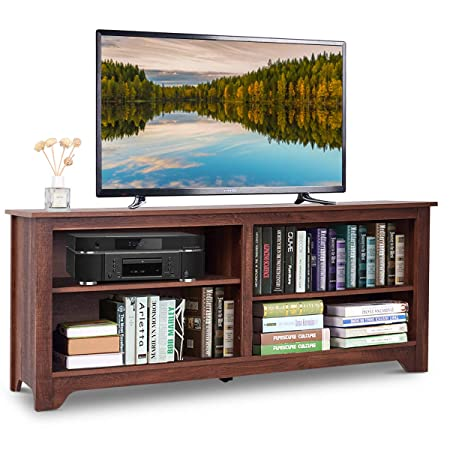 Tangkula 58 TV Stand Modern Home Furniture Living Room Wood Storage Console Entertainment Center for TV up to 60 with 4 Open Storage Shelves