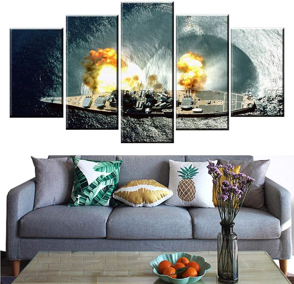 KALINDA MODI Canvas Prints 5 Panels Framed Wall Art, Canvas Wall Art 5 Piece Pictures Painting War Weapon Home Office Decoration Artworks