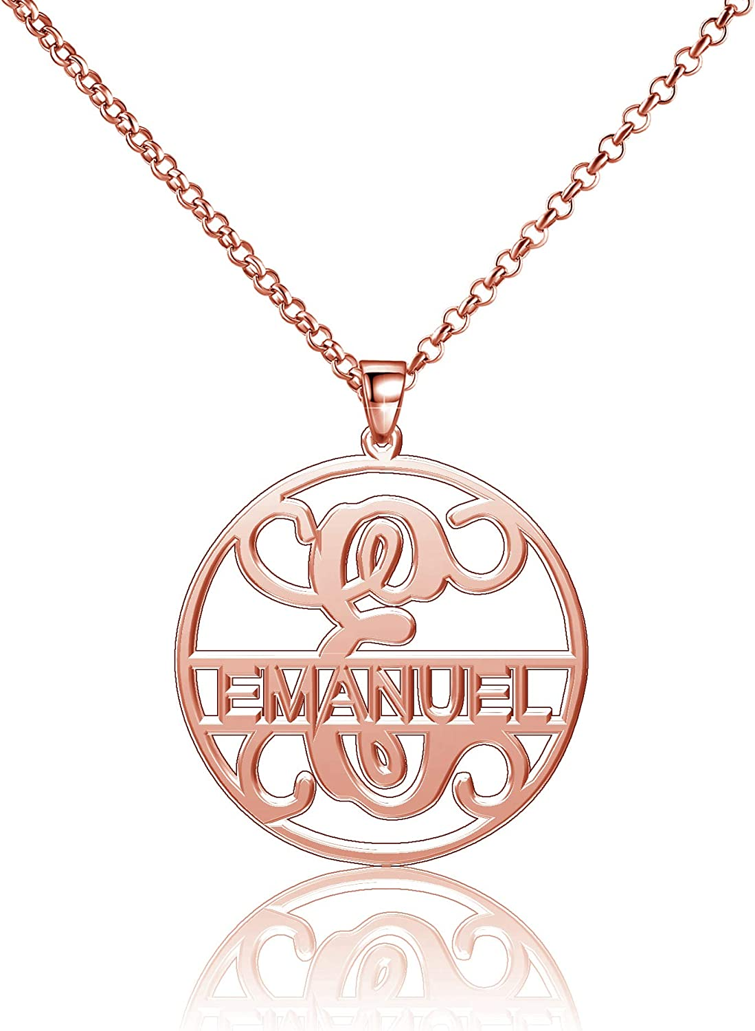 Moonlight Collections Emanuel Necklace Initial Custom Necklace Name