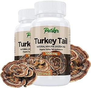 Premium Organic Turkey Tail Mushroom Capsules by Parker Naturals Supports Immune System Health. Nature's Original Superfood. 120 Capsules …