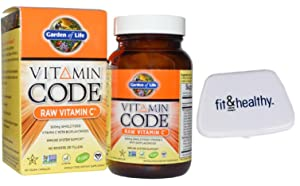 Garden of Life Vitamin Code Raw Vitamin C 60 Vegan Capsules in bundle with Fit & Healthy Pocket Pill Case