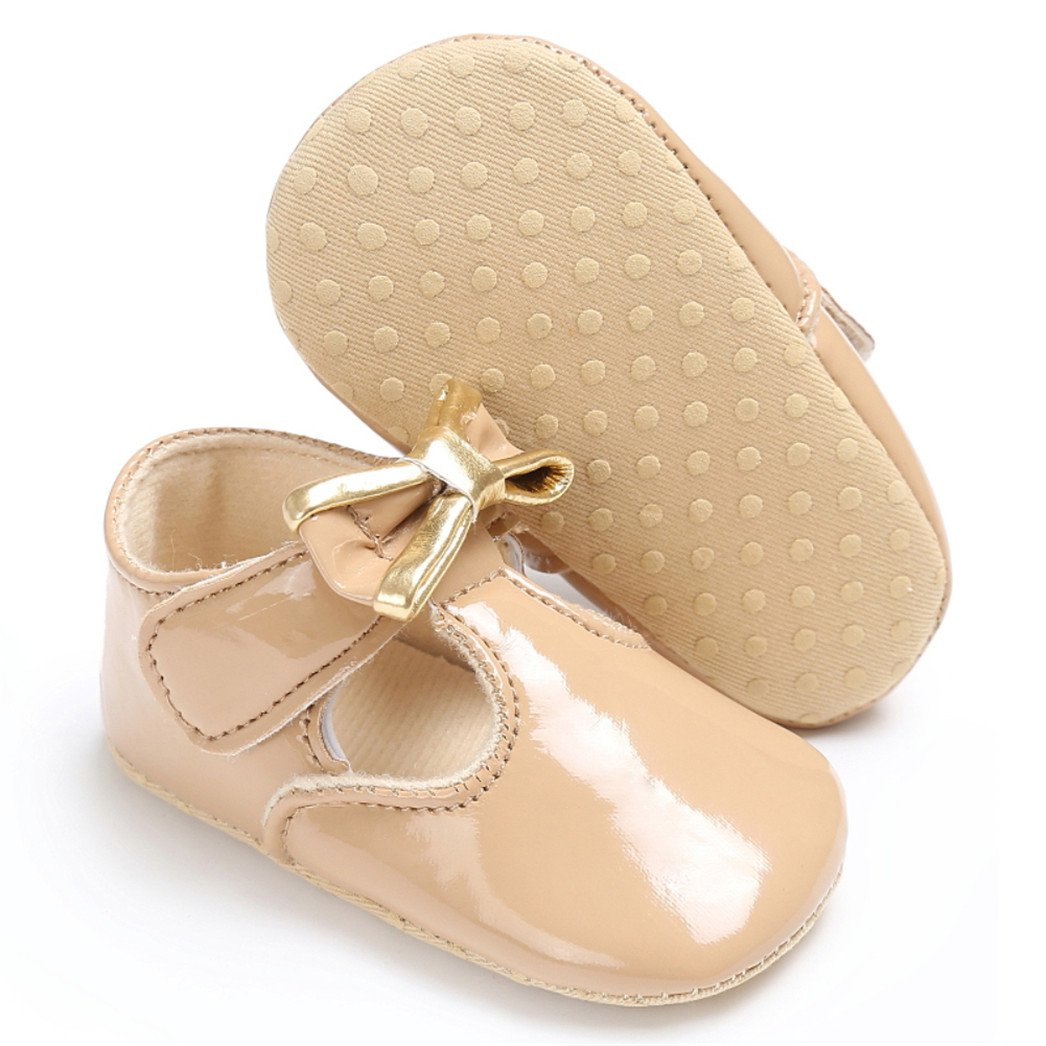 Yamalans Cute Bowknot Crib Prewalker Baby Girl Faux Leather Princess Anti-Slip Soft Shoes