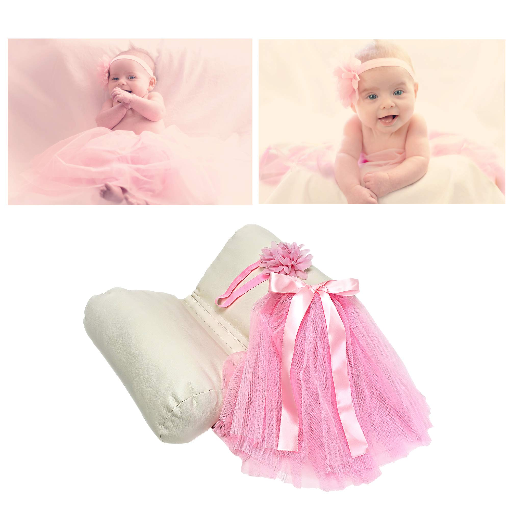 Newborn Baby Photography Props Set – Butterfly Posing Pillow and Baby Girl Outfit for Photo Shoots and Pictures – Pink Tutu and Flower Stretch Headband – for Photographers and DIY Moms & Dads