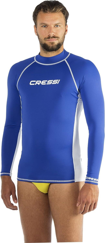 Cressi Rashguard Homme Haute de combinaison en tissu très élastique spéciale, Manches Longues, Protection Solaire UV (UPF) 50+ Bleu Taille - XL/5 (54)   B007QAPT8K