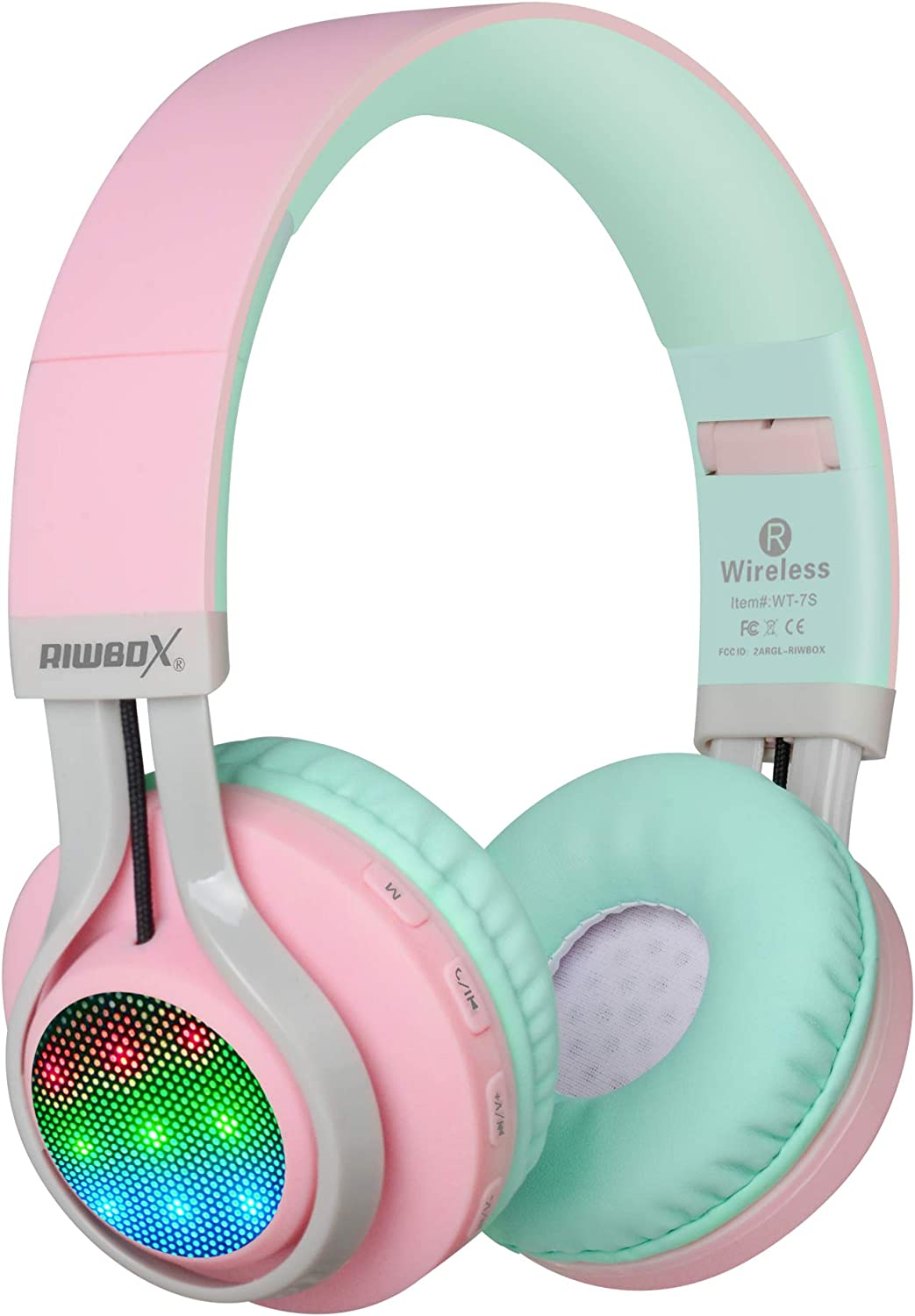 Auriculares Riwbox WT 7S inalámbricos con Bluetooth, luz LED, plegables, con micrófono y control de volumen para PC, iPhone, TV, iPad Rosa&Verde