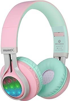Auriculares Riwbox WT 7S inalámbricos con Bluetooth, luz LED, Plegables, con micrófono y Control de Volumen para PC, iPhone, TV, iPad (Rosa&Verde): Amazon.es: Electrónica