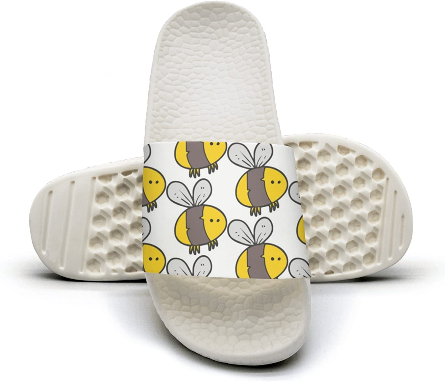Mens Cute Fat Bee Bumble Insect Non-Slip Soft Foams Slipper Home Slide Sandals