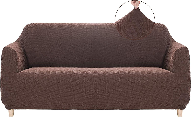 RECYCO Couch Cover Sofa Slipcovers Sofa Covers Furniture Protector Non Slip Spandex Jacquard Fabric Small Checks (Coffee, Loveseat)