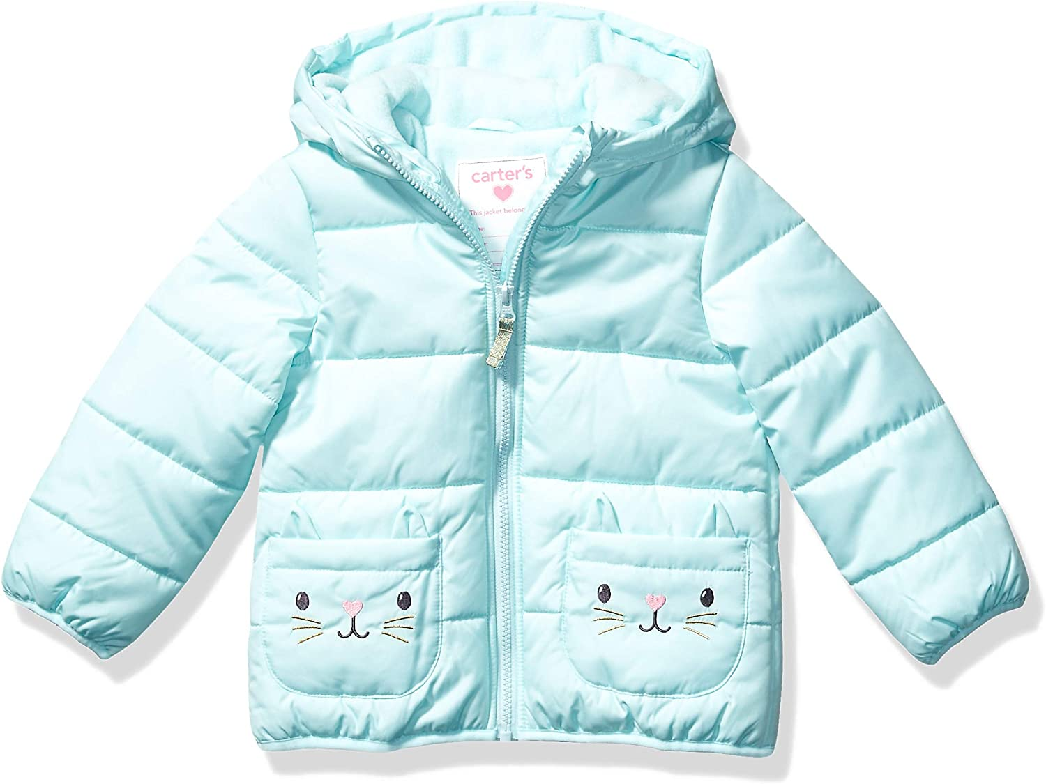 Carter's Girls' Toddler Fleece Lined Critter Puffer Jacket Coat
