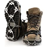 OUTAD Universal 18 Teeth Ice & Snow Cleats Crampon Stainless Steel Ice Grippers Traction Cleats For Outdoor Ski Ice Snow Hiking Climbing Traction Cleats