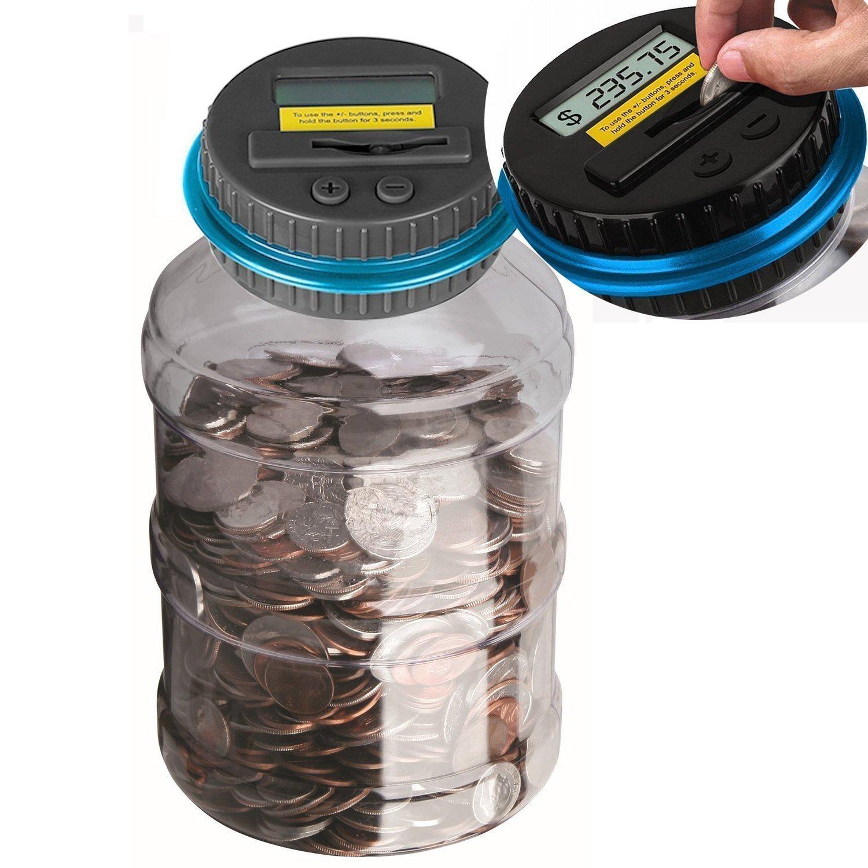 Powstro Piggy Bank Digital Counting Coin Bank Creative Large Money Saving Box Jar Bank LCD Display Coins Saving Gift (Dollar)