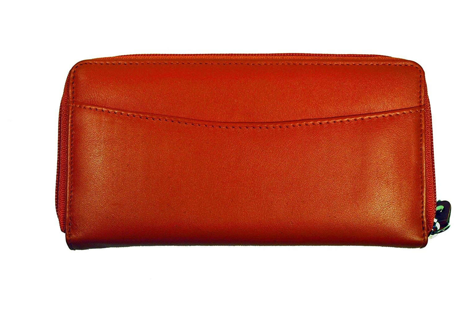 Budd Leather Calf Double Zip Around Credit Card Wallet With RFID - Orange