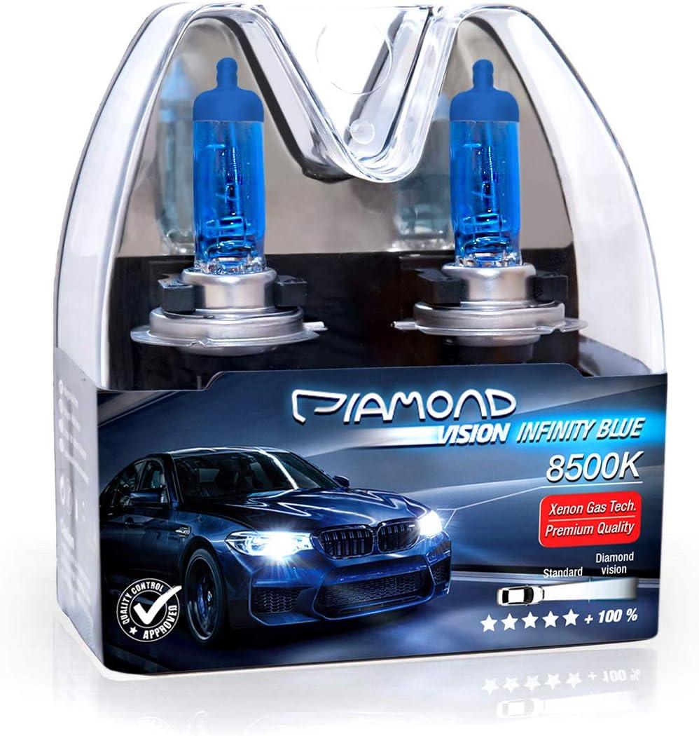 2 X H7 55 W 55 Watt Diamond Vision Xenon Look Effect Halogen Car Lamps Bulbs Light Look Super Ultra White 8500 K Low Beam High Beam Fog Light Cool White Light