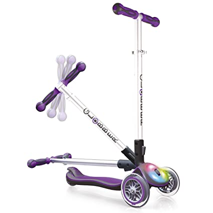 Globber 3 Wheel Folding Scooter with LED Lights (Purple)