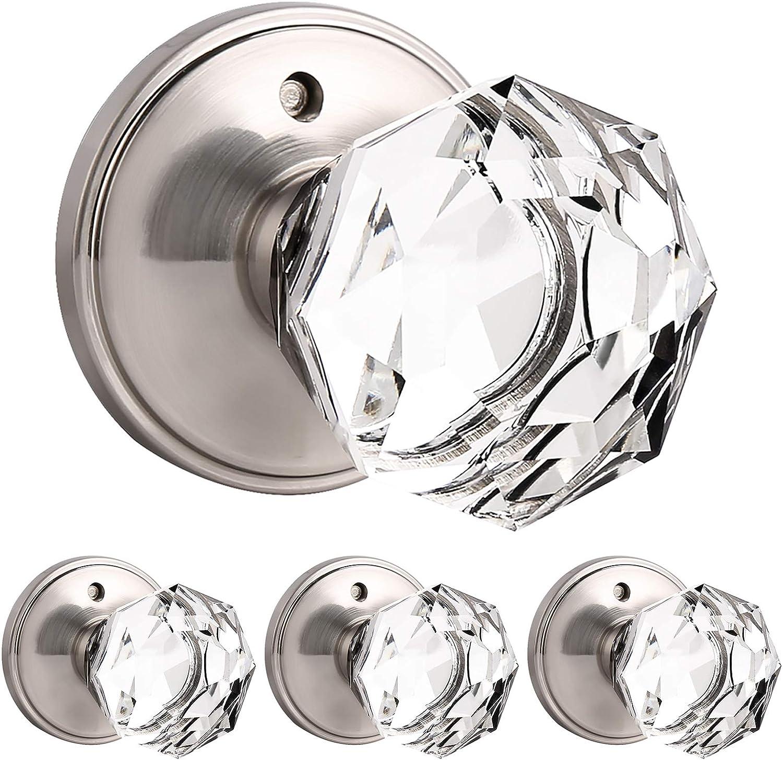 4 Pack Genuine Crystal Privacy Door Knobs For Bed Bath Interior Door Handles Satin Nickel Finish With Classic Rosette Heavy Duty Modern Door Handles Knob Sets Diamond Shape Amazon Com