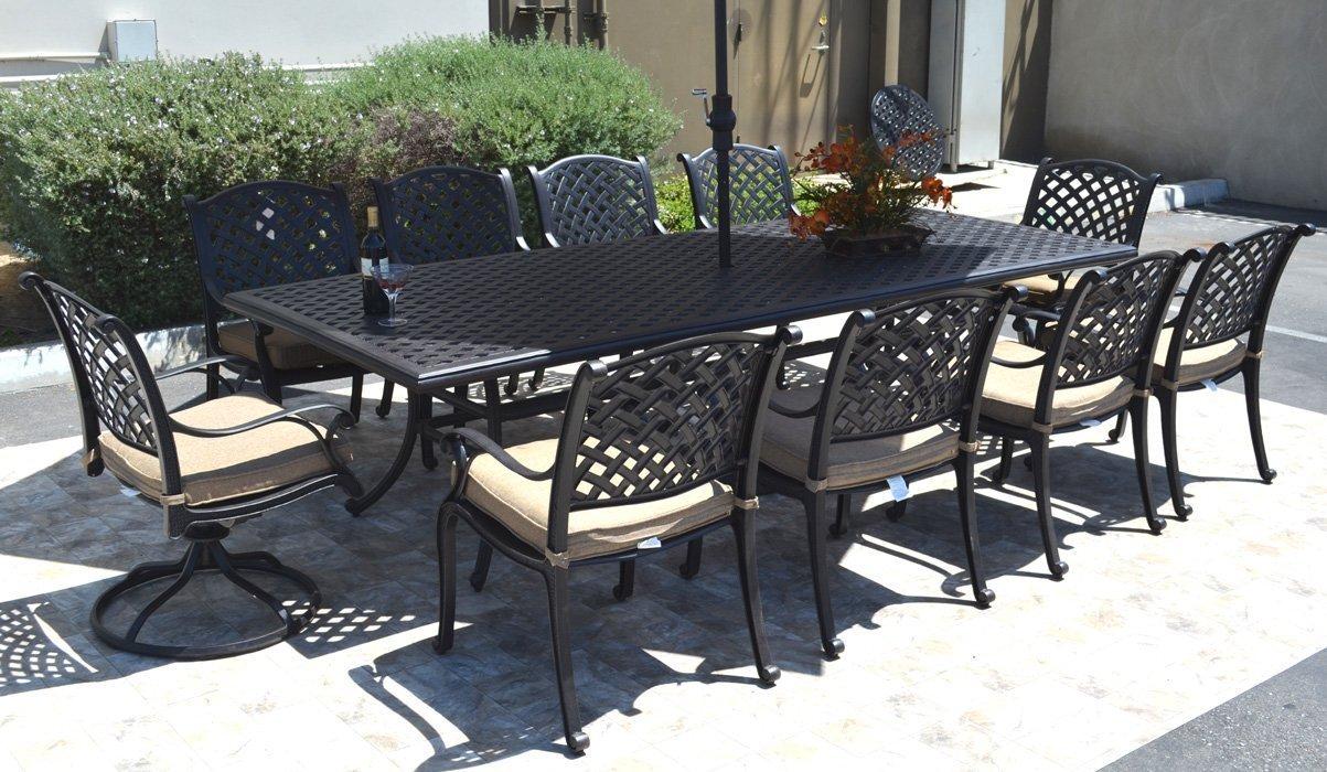 "Nassau Cast Aluminum Powder Coated 11-Piece Dining Set with 46""x120"" Rectangle Table - Antique Bronze"