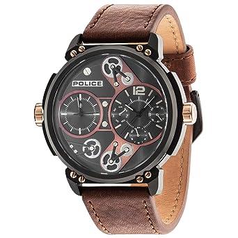 Police Reloj Analogico para Hombre de Cuarzo con Correa en Piel PL14693JSB.12A: Amazon.es: Relojes