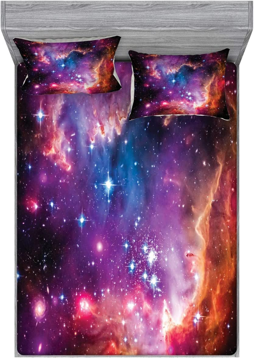 Ambesonne Galaxy Fitted Sheet & Pillow Sham Set, Magellanic Cloud Stars and Colorful Cosmic Universe View Pattern, Decorative Printed 3 Piece Bedding Decor Set, Full, Purple Black