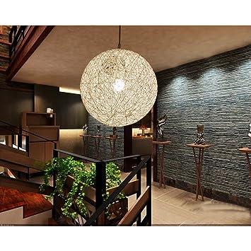 Azx E27 Vintage Style Rustique Boule Tressee Lampe Suspension Lustre