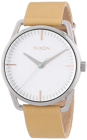 Nixon 0 - Reloj de cuarzo para mujer, con correa de cuero, color beige