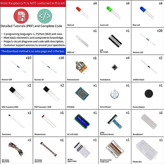 Freenove LCD 1602 Starter Kit for Raspberry Pi 4 B 3 B+, 209 Pages