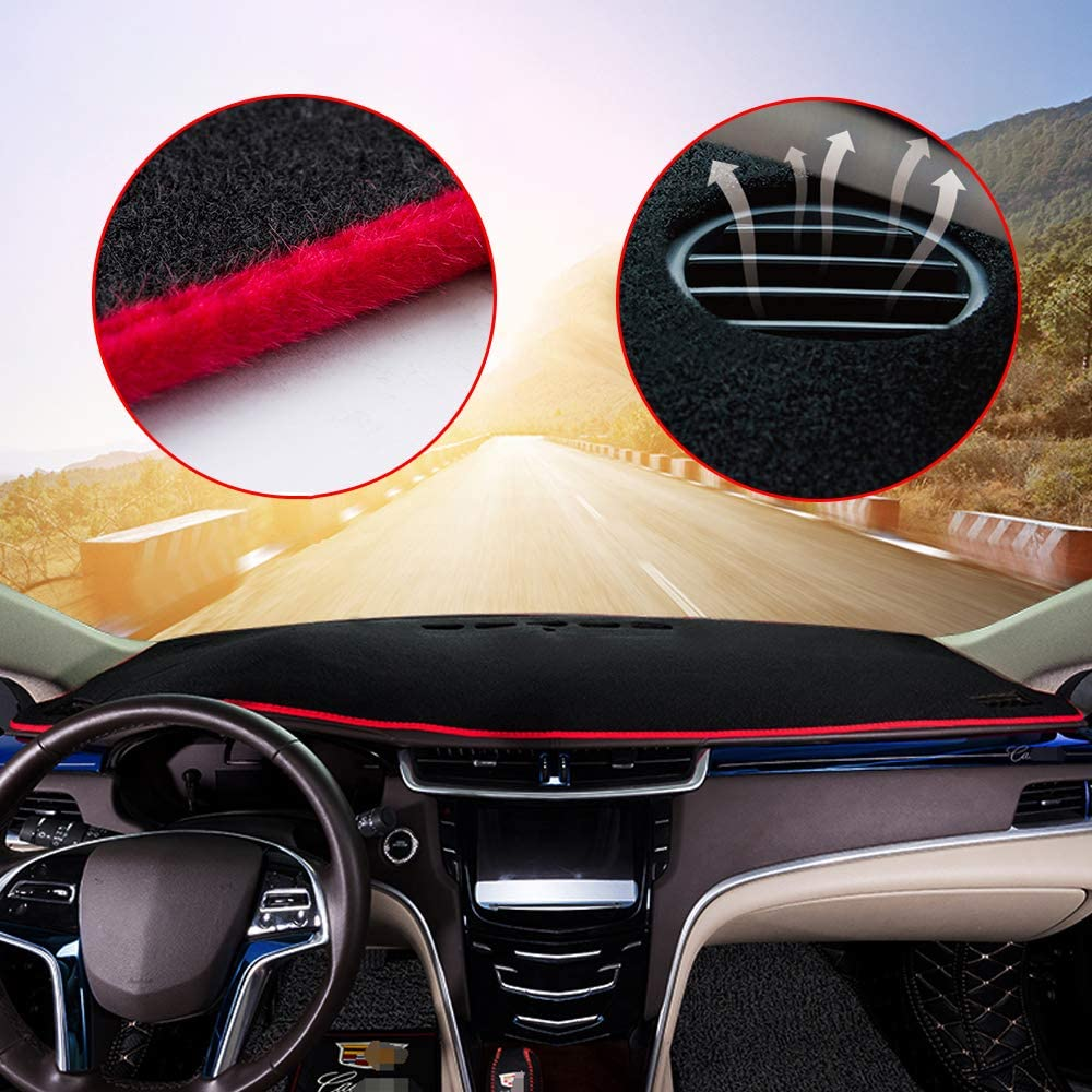 Custom Center Console Dashboard Cover Carpet Mat for Toyota Yaris 2008-2011 Interior Dash Covers Accessories Red Line 1PCS