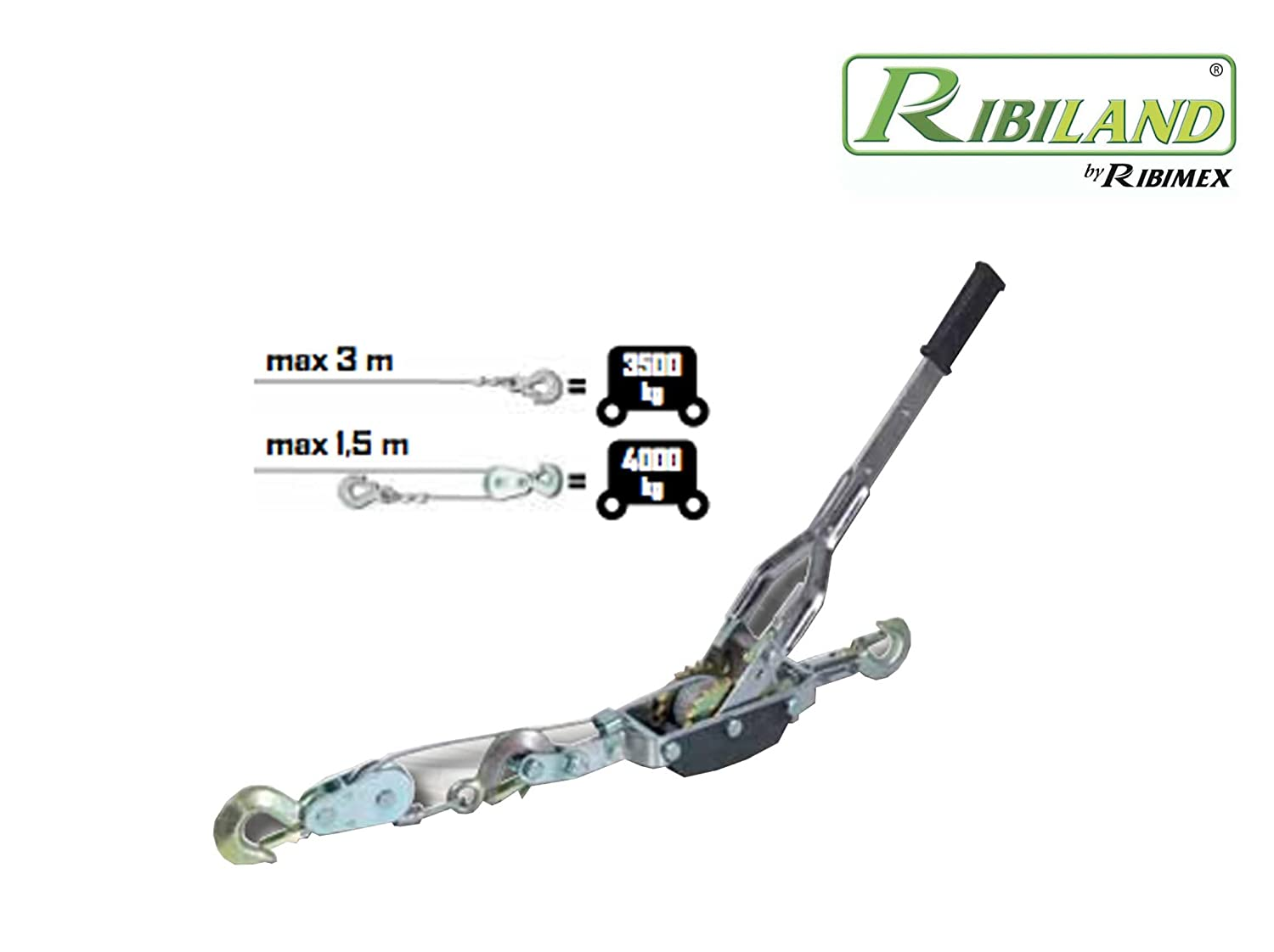Ribitech 06563 Treuil Manuel Horizontal 4t Cable 6mm, Argent Ribimex