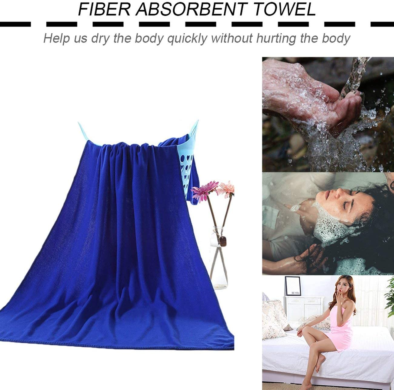 Elviray Multipurpose Microfiber Absorbent Fast Drying Bath Beach Towel Washcloth Swimwear Hair Towel Sports Fitness Towels