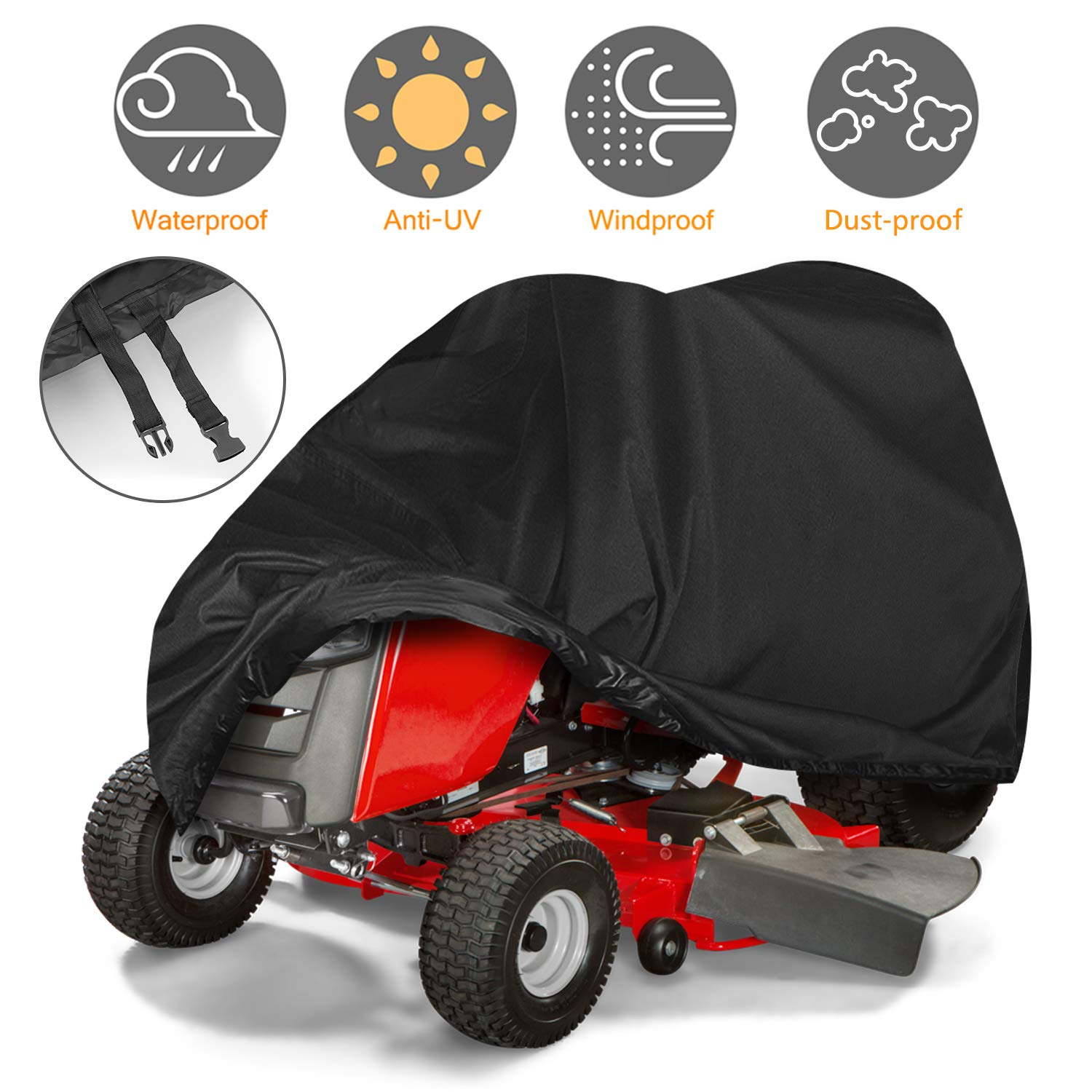 Tvird Lawn Mower Cover, Riding Lawn Mower Cover Made with Durable Fabric Heavy-Duty | Features Double Stitched Seams & Interior Waterproof&UV Protection Coating | for Up to 54'' Decks by Tvird