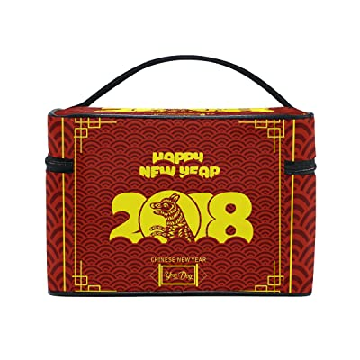 70%OFF Happy Chinese New Year 2018 Of The Dog Travel Makeup Toiletry Organizer Case Cosmetic Bag