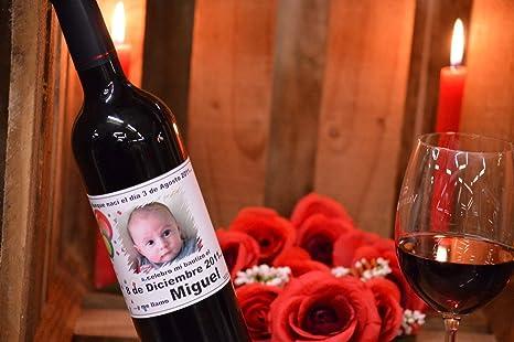 Personalizados Bautismo Foto Etiqueta Del Vino De Regalo cualquier Color