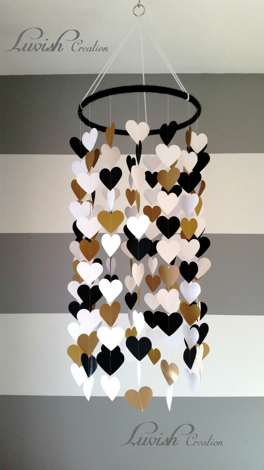 Luvish Creation Heart Shape Paper Mobile Black White Gold Baby Room Decoration Room Decor Wedding Decor Amazon In Toys Games