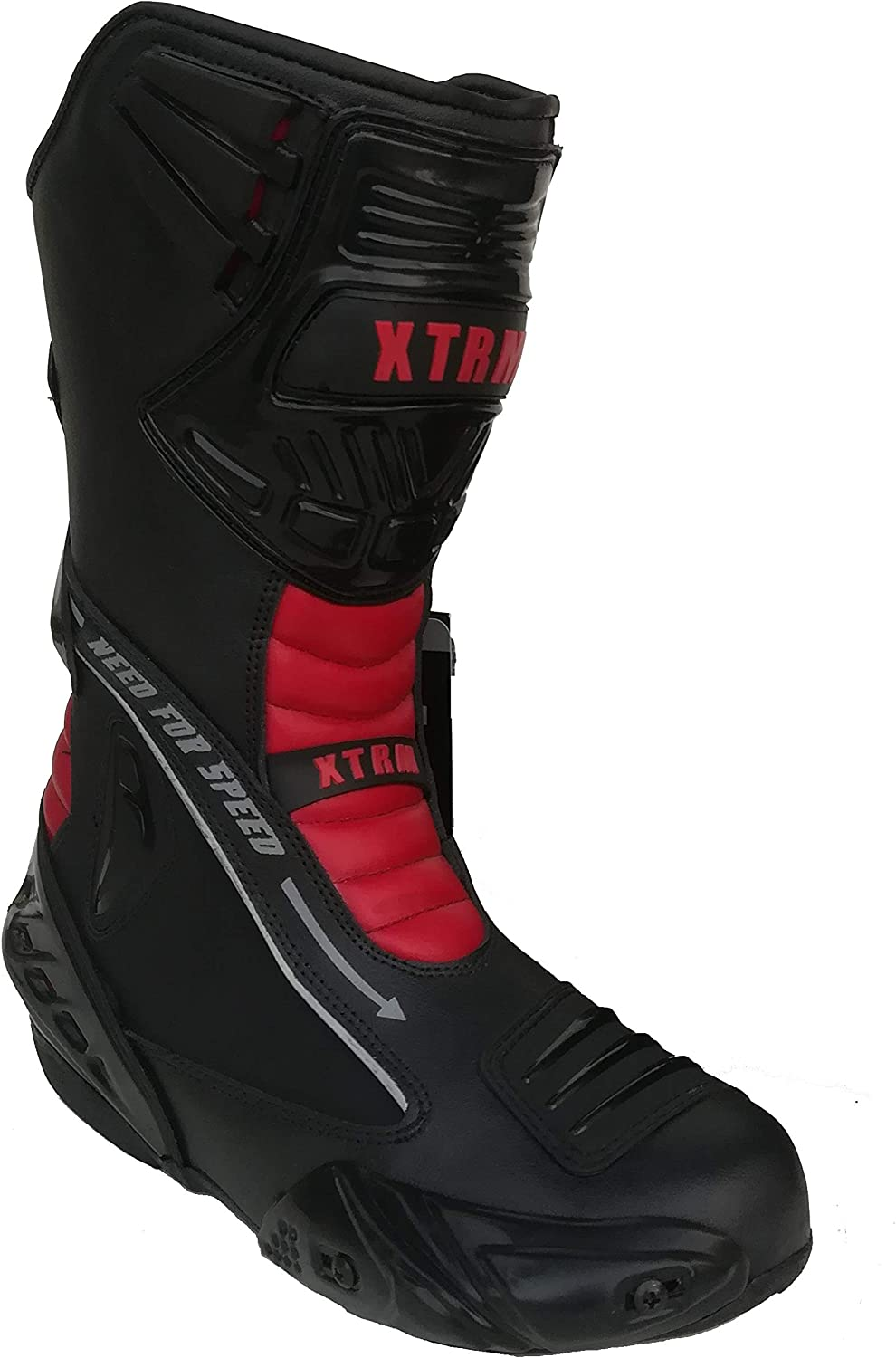 XTRM EVO Motorcycle Adult SEMI Sports Boots Motorbike Scooter Men Women Biker Rider Sport Race Touring Armour Leather Boots RED Red, EU 40// UK 6