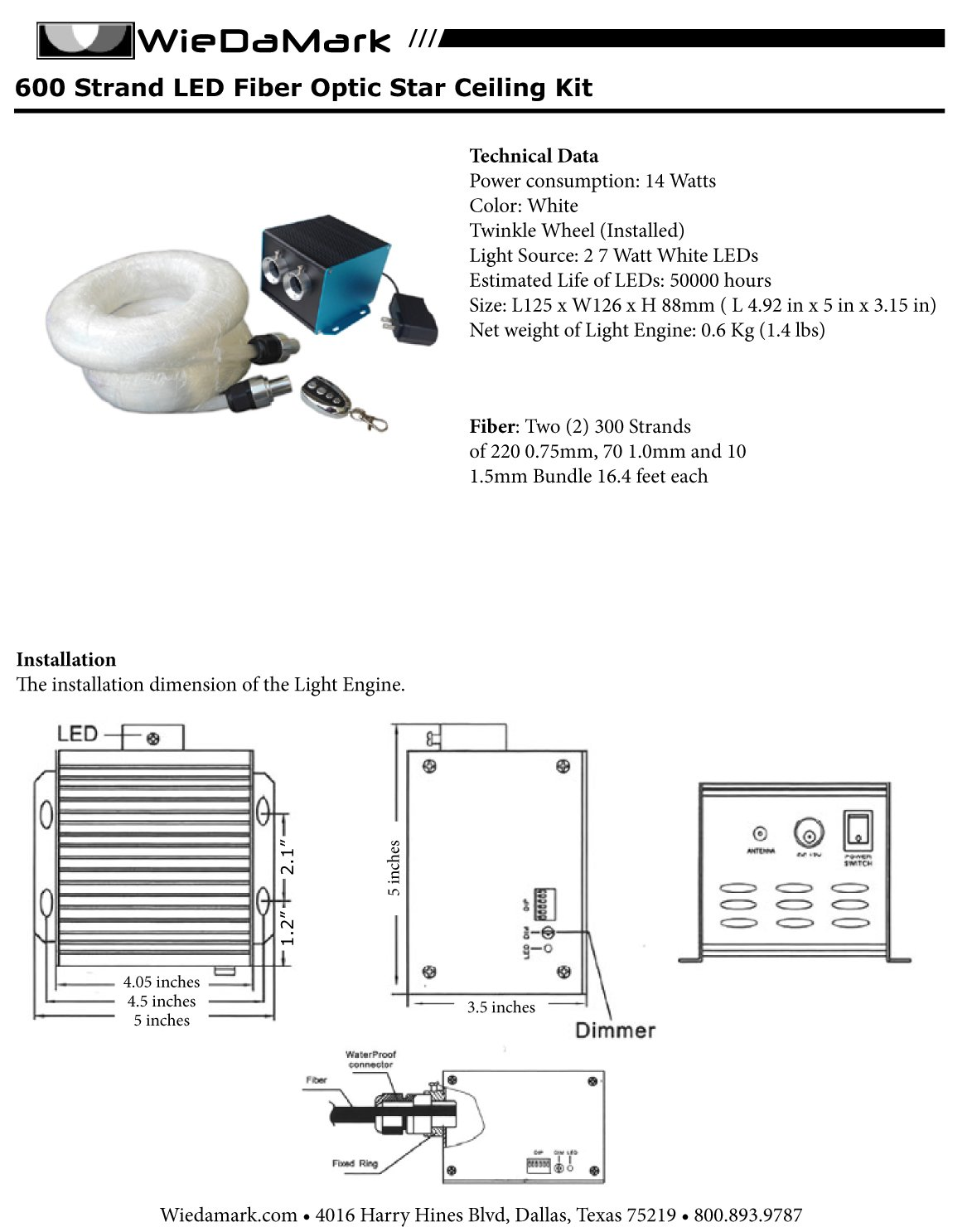 Wiedamark 600 Strand Led Fiber Optic Star Ceiling Kit Engine Diagram With Dimming Feature Musical Instruments