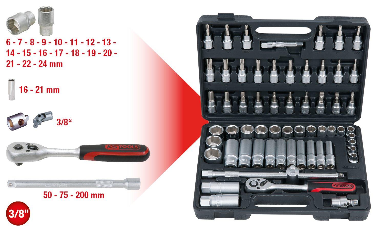 KS Tools 911.0626 Coffret de douilles F6 3//8 26 pcs CHROMEmat
