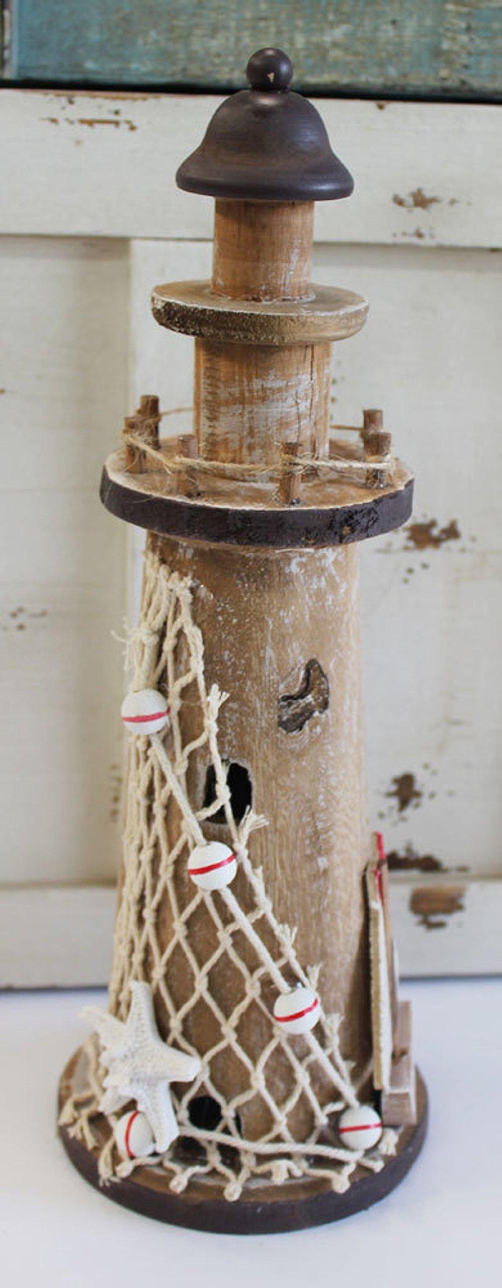 Nautical Wood Lighthouse with Sailboat