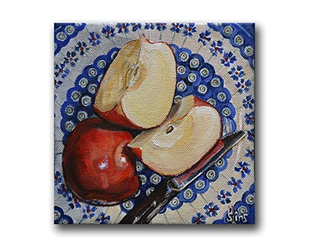 Amazon.com: Polish Pottery Apple Kitchen Art Print, Blue Farmhouse ...