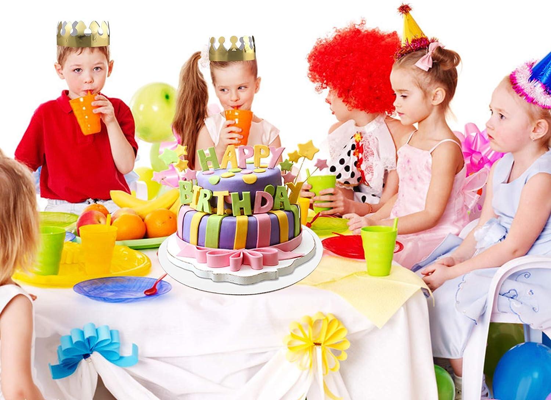 MSDADA Rund Cake Boards 3pcs Wei/ße Runde Kuchenunterlagen mit 16 Nat/ürlichen Holz Tortenst/ützen Kuchenst/ützen und 2 Goldene Papierkrone f/ür Kuchen /& Pizza Dekorieren Hochzeit Geburtstag Party