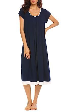 Ekouaer House Dress Women/'s Soft Sleepwear Short Sleeve Nightgown Medium Navy
