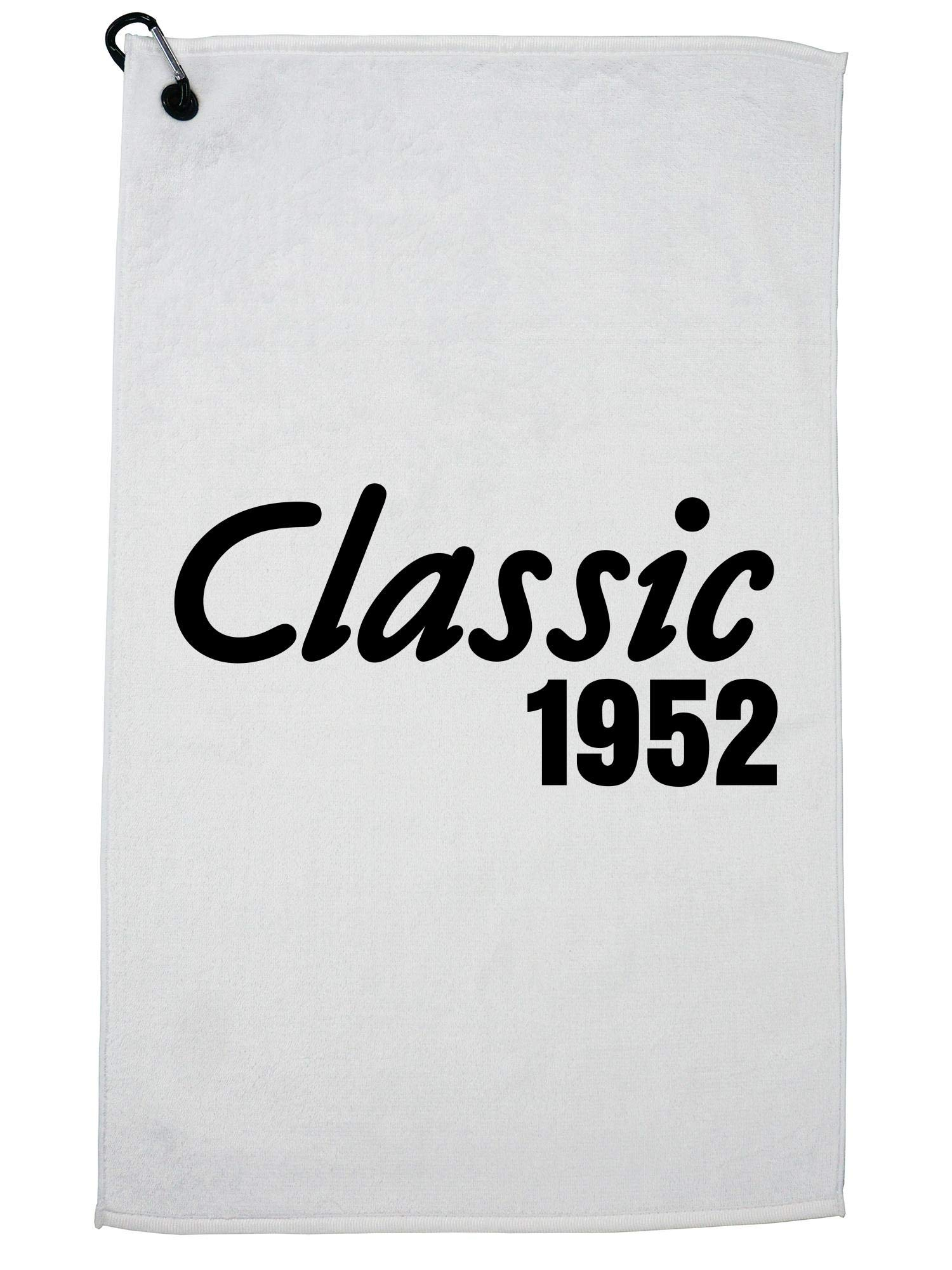 Hollywood Thread 65th Birthday Gift - Born in 1952 - Vintage Classic Golf Towel with Carabiner Clip