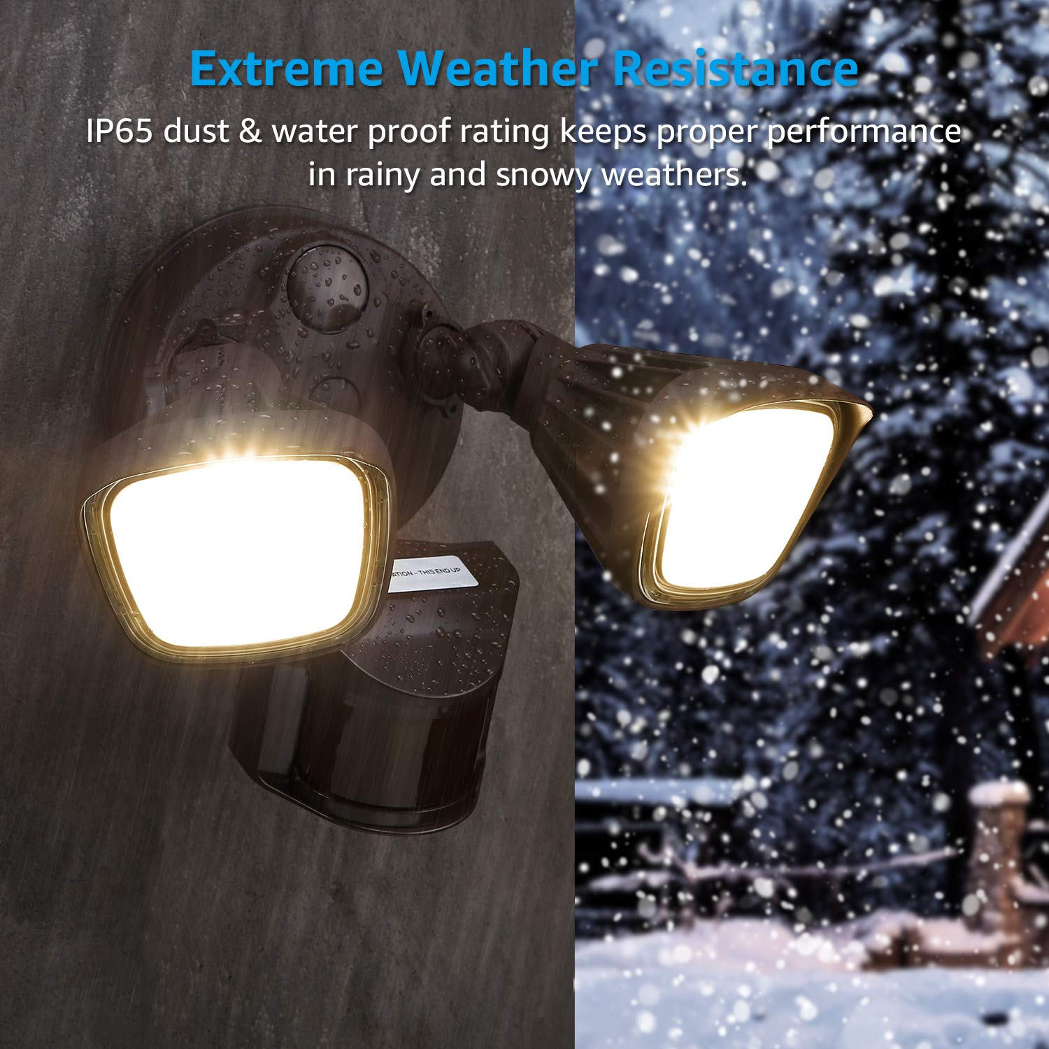 Patios 2300lm Floodlight for Entryways White LHSCT-30WRSS50-WHT 5000K Daylight Decks 150W Halogen Equivalent LEONLITE 30W 3-Head Motion Activated LED Outdoor Security Light 3 Modes Stairs Photo Sensor