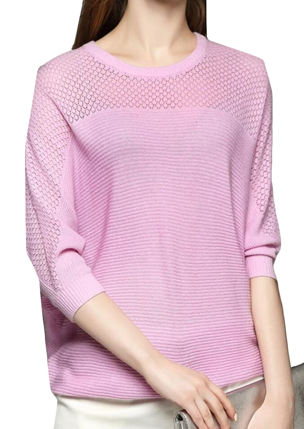 Unko Women Solid Color Loose Bat Sleeve Knit Sweater