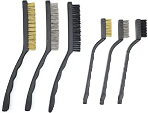 LepoHome 6 Pieces Wire Brush Set for Cleaning Welding Slag, Rust and Dust, Stainless Steel, Brass and Nylon