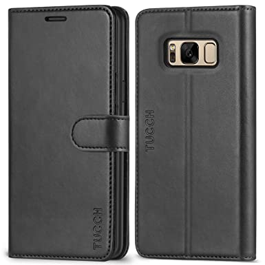 online retailer 5e213 abb85 TUCCH Galaxy S8 Case, S8 Leather Case, Galaxy S8 Wallet Case with [Lifetime  Warranty][TPU inner shell] [Card Slots] [Magnetic Closure] Leather Flip ...