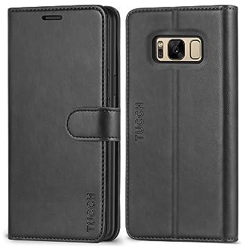 TUCCH Funda Galaxy S8 Plus, Funda Piel para Galaxy S8 Plus con [Garantía de por Vida] Carcasa Interna de TPU, Ranuras para Tarjetas, Soporte Plegable, ...