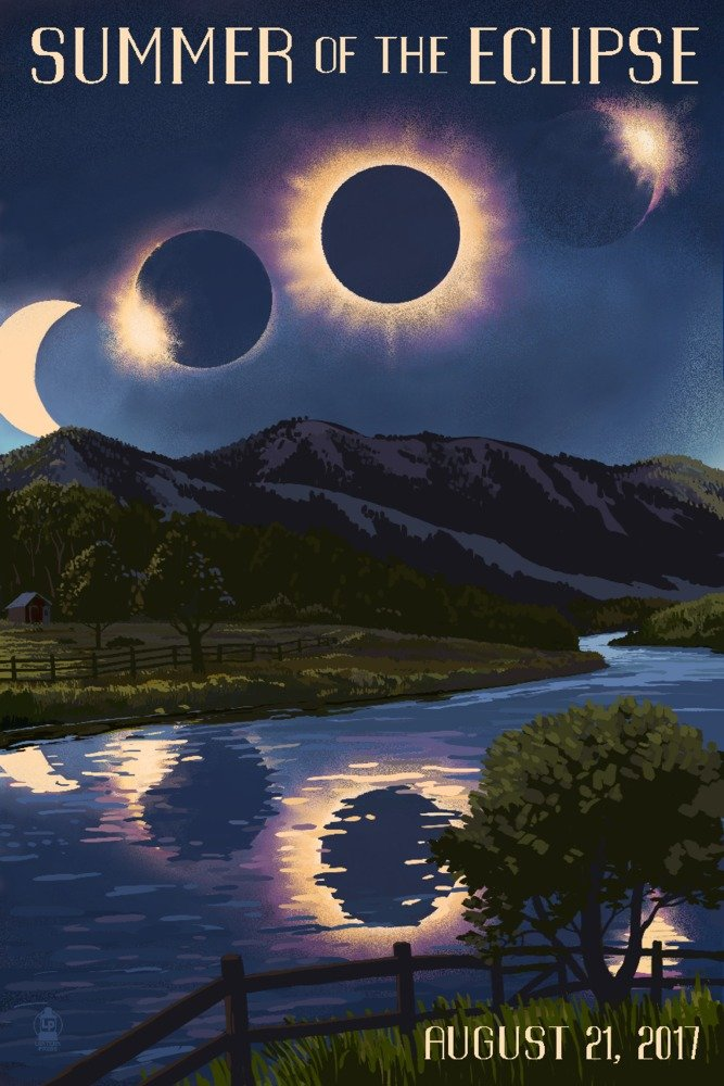 Solar Eclipse 2017 - Summer of the Eclipse (12x18 Art Print, Wall Decor Travel Poster)
